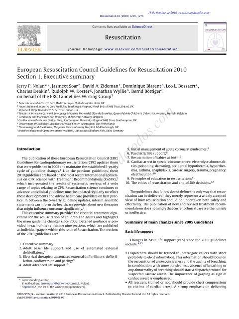 European Resuscitation Council Guidelines for Resuscitation ... - CPR