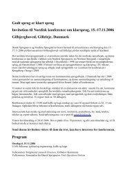 Godt sprog er klart sprog Invitation til Nordisk konference om ...