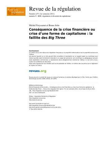 Consequence de la crise financiere ou crise d ... - Michel Freyssenet