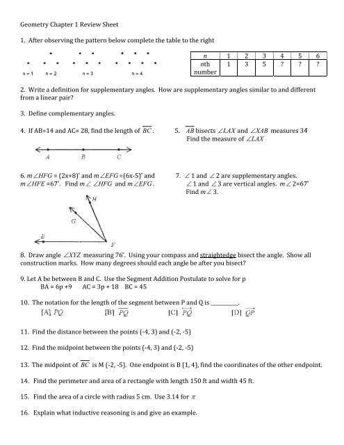 Geometry Chapter 1 Review Sheet 1 After Observing The