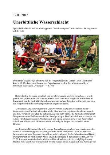 Bericht Sautrogrennen 2012 - Feuerwehr Hebertsfelden