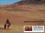 Investor Presentation August 2010 - General Mining