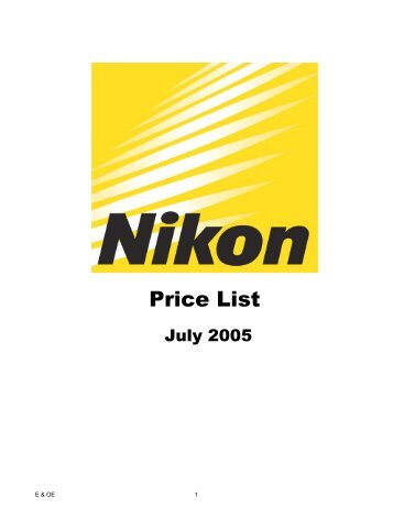 UK Price List Jul 05 revised codes - Nikon