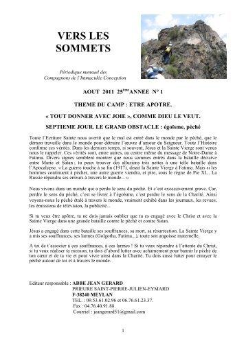 Vers les sommets d'août 2011 - « Tout donner avec ... - La Porte Latine