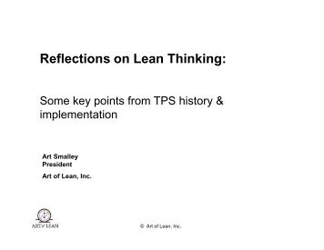 Reflections on Lean Thinking: - Art of Lean