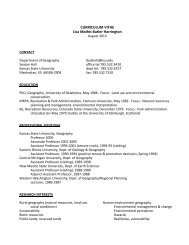 CURRICULUM VITAE Lisa Mathis Butler Harrington - Kansas State ...