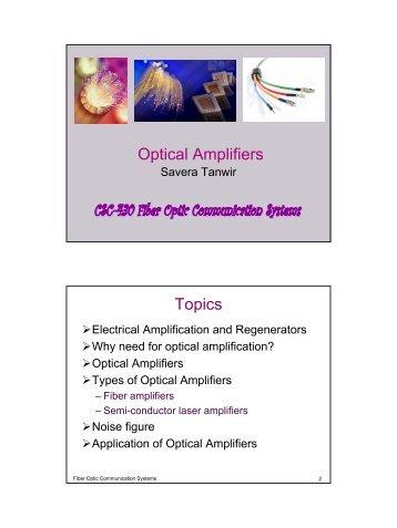 Optical Amplifiers Topics
