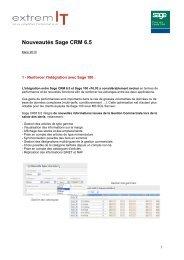 Nouveautés Sage CRM 6.5 - extremIT