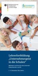 """Lehrerfortbildung """"Unternehmergeist in die Schulen"""""""