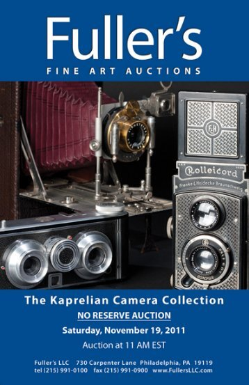 The Kaprelian Camera Collection No Reserve Auction Saturday ...