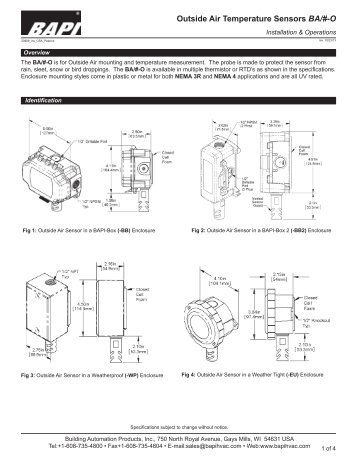 Sensor Systems Series 0129 Outside Air Temperature Oat