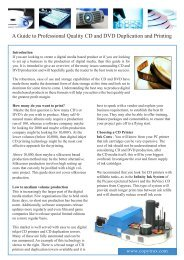 A Guide to Professional Quality CD and DVD Duplication ... - Copytrax