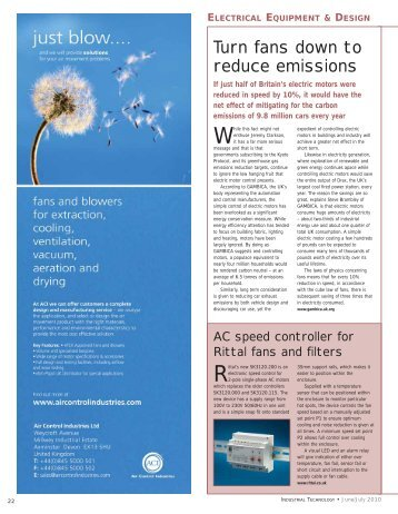 Turn fans down to reduce emissions - Industrial Technology Magazine