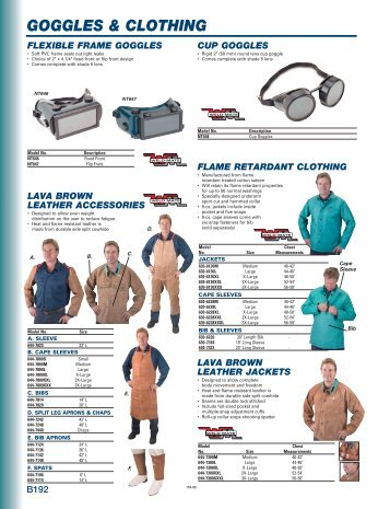 GOGGLES & CLOTHING - DABCO Industrial Supplies