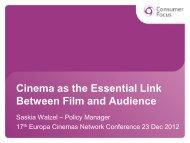 Cinema as the Essential Link Between Film and ... - Europa Cinemas