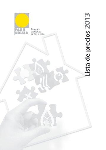 Lista de precios 2013 - Paradigma Energías Renovables Ibérica