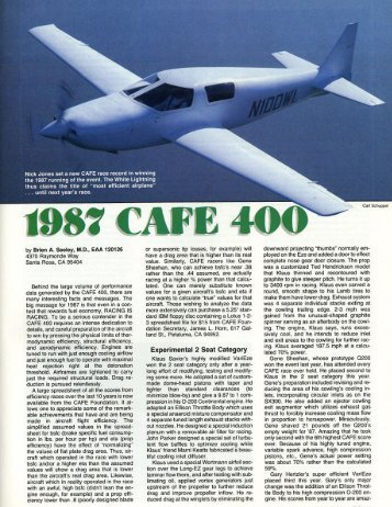 1987 CAFE 400 - CAFE Foundation