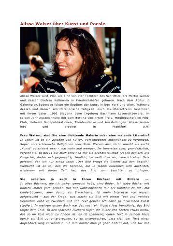 Alissa Walser über Kunst und Poesie - Johannes Fröhlich
