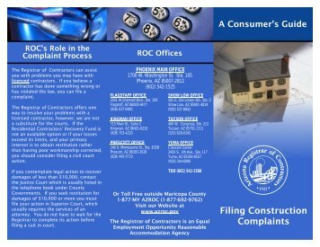 Filing Construction Complaints - Arizona Registrar of Contractors