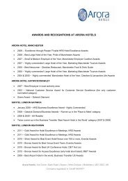 AWARDS AND RECOGNITIONS AT ARORA HOTELS