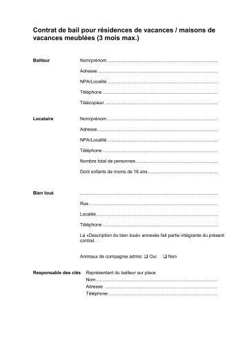 Modele bail vacances document online for Bail pour location maison