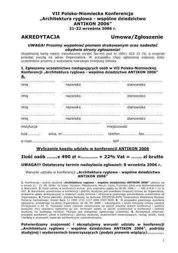 Karta Zgłoszenia w pliku PDF - WA.pl