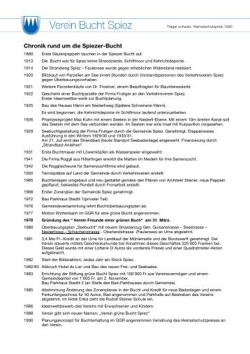 Chronik rund um die Spiezer-Bucht - Bucht-Spiez.ch