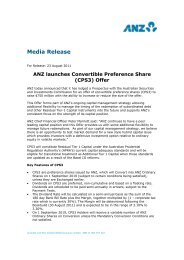 ANZ launches Convertible Preference Share (CPS3) Offer
