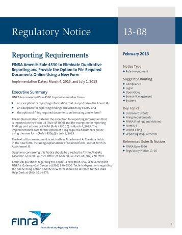 Regulatory Notice 13-08 - finra