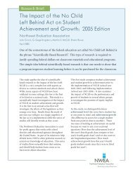 NWEA Summary for: The Impact of the No Child Left Behind Act on ...