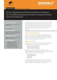 Power Equipment Rental Industry Analysis for a leading ... - Genpact