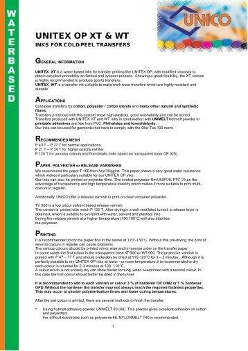 UNITEX OP for cold transfers E 2009 - NV UNICO