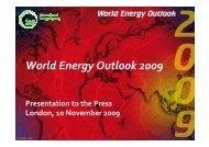 Presentation to Press - World Energy Outlook
