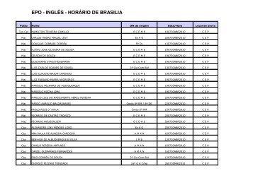 EPO - INGLÊS - HORÁRIO DE BRASILIA