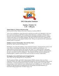 2012 Education Seminars Sunday, October 14 1:30 ? 3:00 p.m.