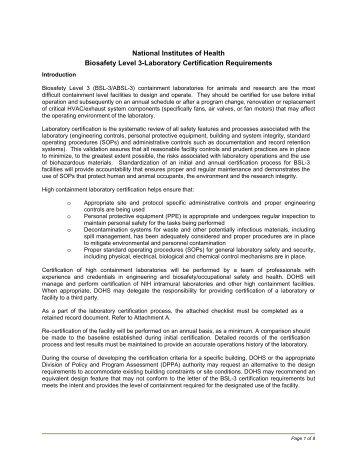 National Institutes of Health Biosafety Level 3-Laboratory ... - ANBio
