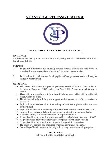 policy on bullying - Y Pant School
