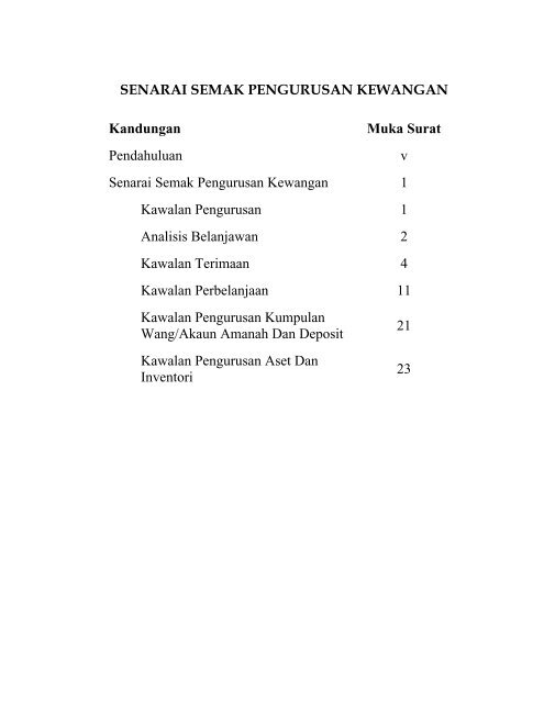 Muat turun Senarai Semak Pengurusan Kewangan