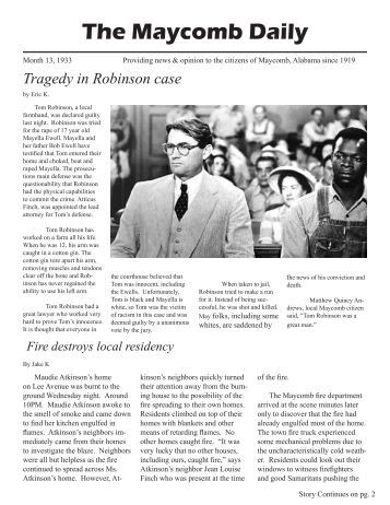 article on the maycomb rape trial Rape conviction of alabama man overturned over fairness of trial 1980 article on the overturning of a case in which a black man was convicted of raping three white women in alabama to kill a mockingbird mock article from the onion.