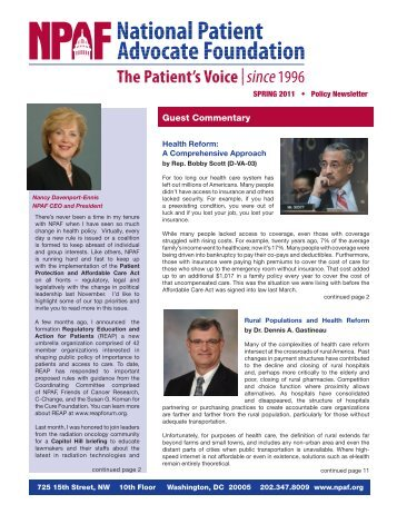 Spring 2011 Policy Newsletter - National Patient Advocate Foundation