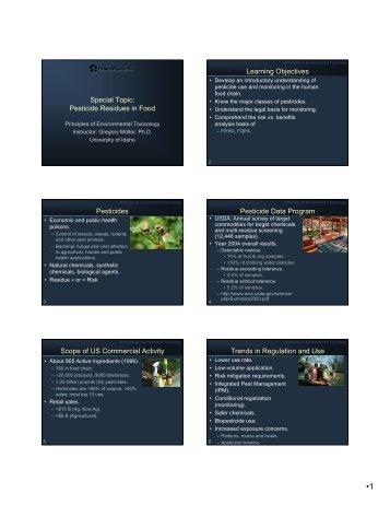 Principles of environmental toxicology - Agls.uidaho.edu - University ...