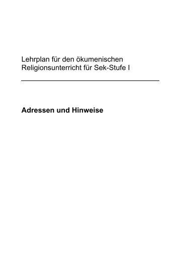 Lehrplan für den ökumenischen Religionsunterricht für Sek-Stufe I ...