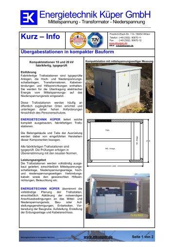 Uebergabestation in kompakter Bauform - Energietechnik Küper