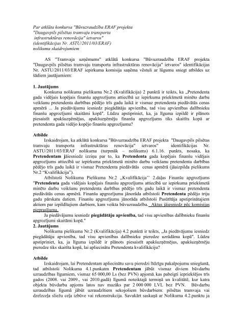 Atbilde uz jautājumuNr.4. - Tramvajs - Daugavpils