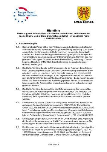 KMU-Förderrichtlinie für den Landkreis Peine - Wirtschafts- und ...