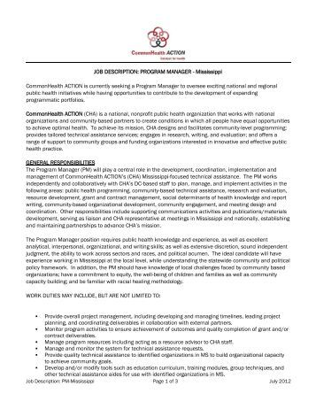 Program Manager Job Description The Sylvia   - Good Food Jobs.