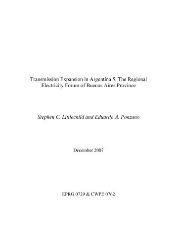Transmission expansion in Argentina 5 - Electricity Policy Research ...