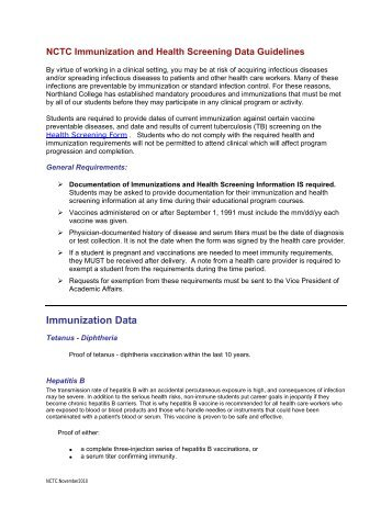 Northland College Immunization & Health Screening Guidelines