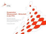 Kooperation Wissenschaft – Wirtschaft in der FFG - Österreichischer ...