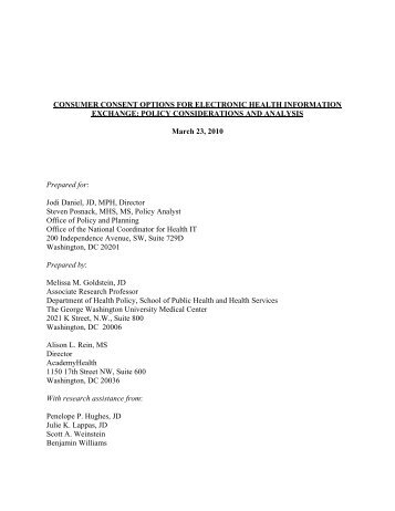 consumer consent options for electronic health information exchange